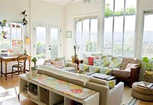 Lovely use of colors and textures in the living room with a high