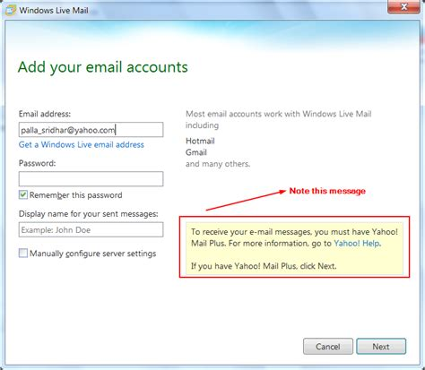 yahoo email domains configure windows live mail 2012 settings for gmail and