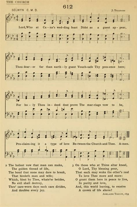 Wedding At Cana Text by Church Hymns And Tunes 612 Lord Who At Cana S Wedding