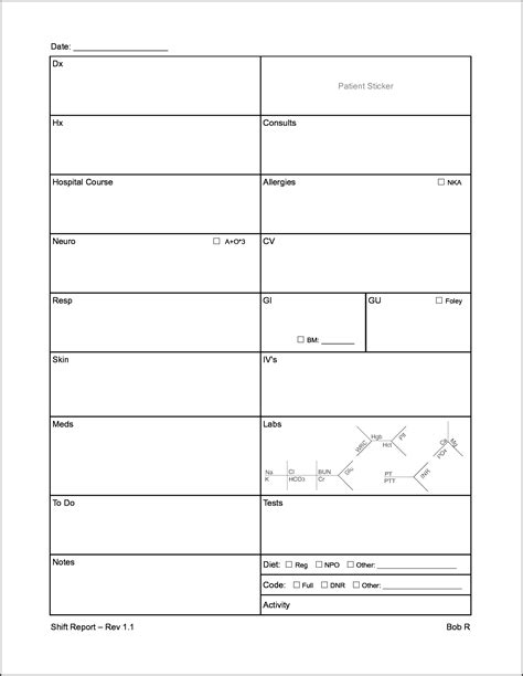 nursing handoff report template 28 images sbar shift