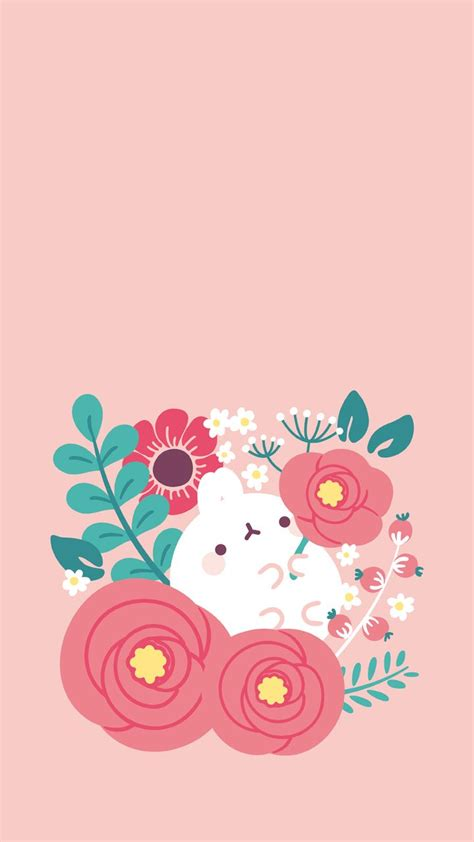 Wallpaper Kawaii Flower | molang spring flowers wallpaper wallpaper pinterest