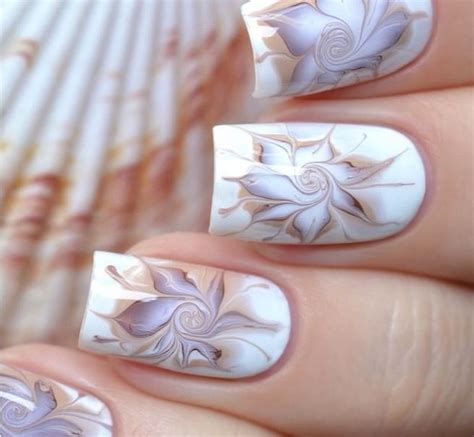 flower design marble yellow and pink water marble nail art