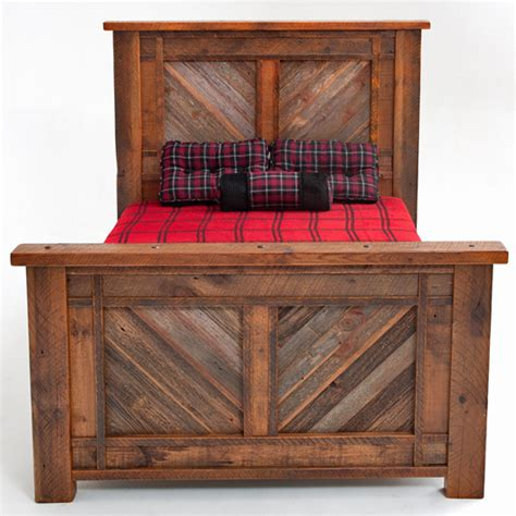 rustic bed barn wood furniture unique herringbone design