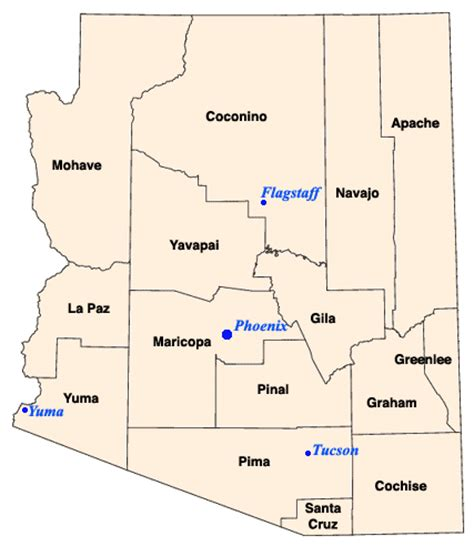 Arizona Search Arizona County Map