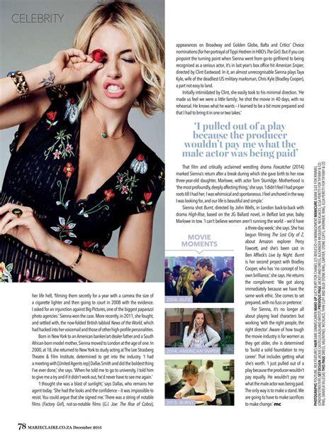 sienna miller in marie claire magazine october 2015 issue sienna miller in marie claire magazine december 2015