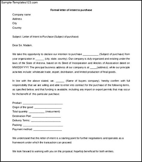 Your Letter Of Intent Formal Letter Of Intent To Purchase Template Free Word Sle Templates
