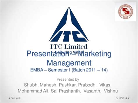 Itc Mba by Itc Marketing Management