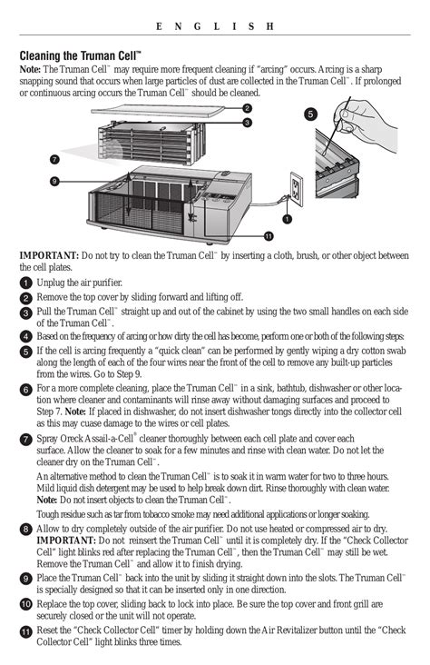 cleaning the truman cell oreck xl рrofessional air purifier airp series user manual page 9 36