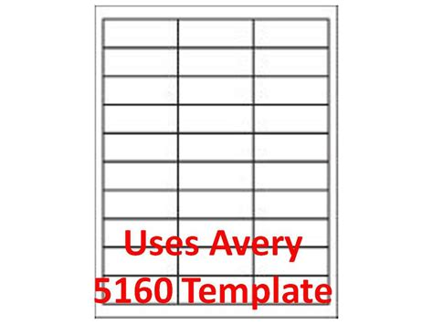 Avery Template 5160 Microsoft Word by 3000 Laser Ink Jet Labels 1 Quot X 2 5 8 Quot 30up Address