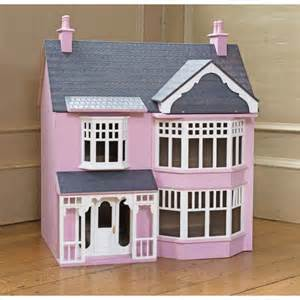 Pink wooden art deco style 3 storey dolls house kit
