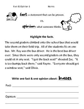 Fact And Opinion Worksheets Pdf