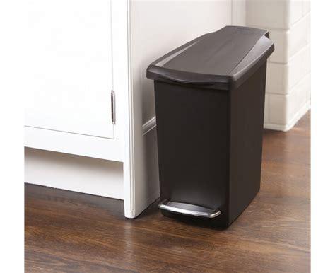 Small Bathroom Trash Can Liners Simplehuman 10l Slim Black Plastic Step Trash Can