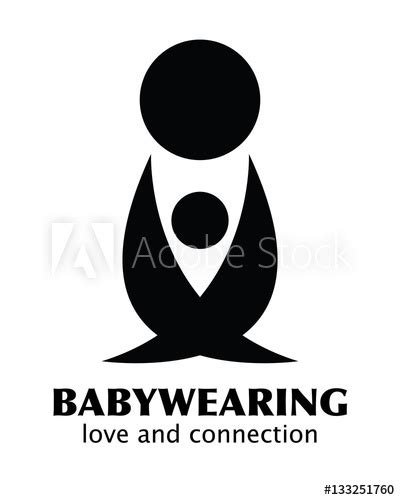"""Vector Black and White Babywearing Symbol With Parent"