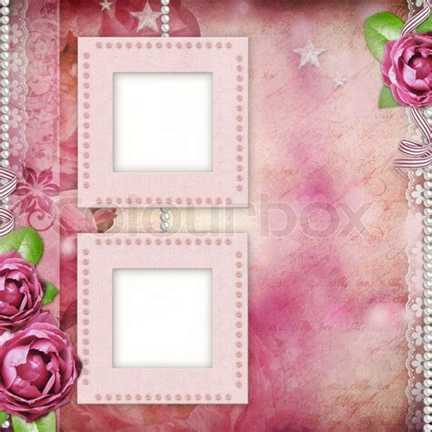 Album page   romantic background with frames, rose, lace