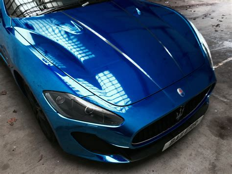 blue chrome maserati wrap by printdsign manchester uk