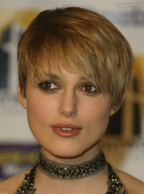 Keira Knightley's extra short haircut with forward styling
