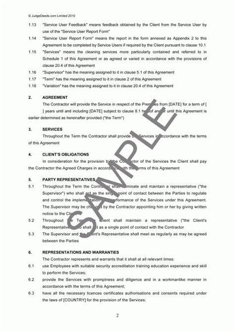 cleaning services agreement template janitorial service contract sle templates