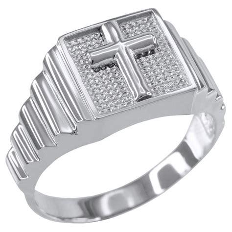 sterling silver cross square religious s ring ebay