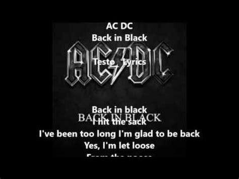 back in black testo ac dc back in black testo lyrics