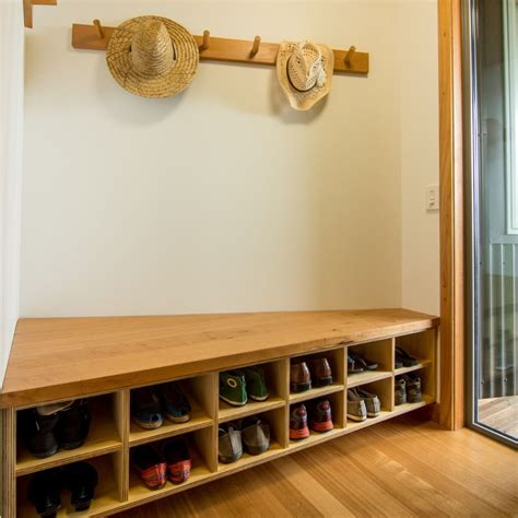 shoe and coat storage ideas solid macrocarpa and plywood shoe coat jacket storage is a