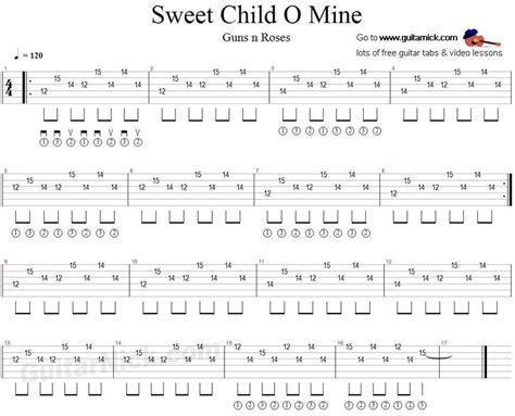 tutorial guitar mine sweet child o mine guitar tab guitarnick guitar