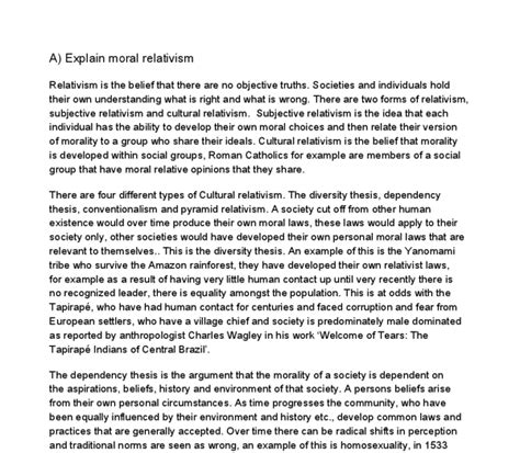 Cultural Relativism Essay by Essay On Moral Relativism