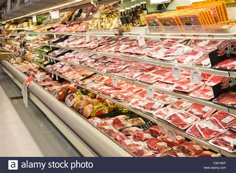 supermarket meat section meat section of grocery store boston massachusetts usa