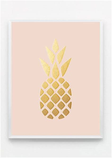 kitchen print gold wall art pineapple print gold