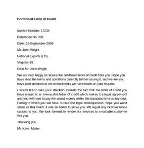 Letter Of Credit Not Confirmed Sle Letter Of Credit 9 Free Documents In Word