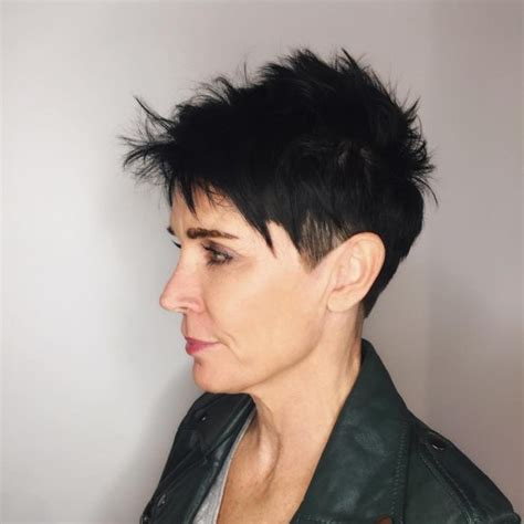 razor cut hairstyle with spiky on top women s silver platinum bowl cut undercut pixie