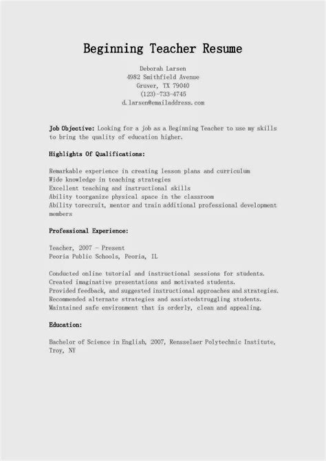 Resume Exles For Beginning Teachers Resume Sles Beginning Resume Sle