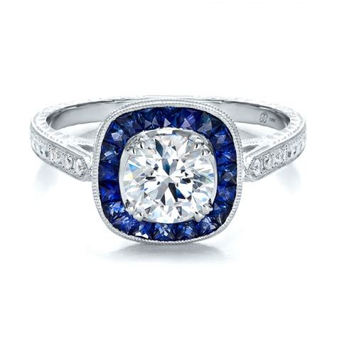 deco and sapphire engagement rings deco style blue sapphire halo and engagement ring