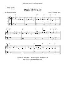 Easy free christmas sheet music for piano deck the halls
