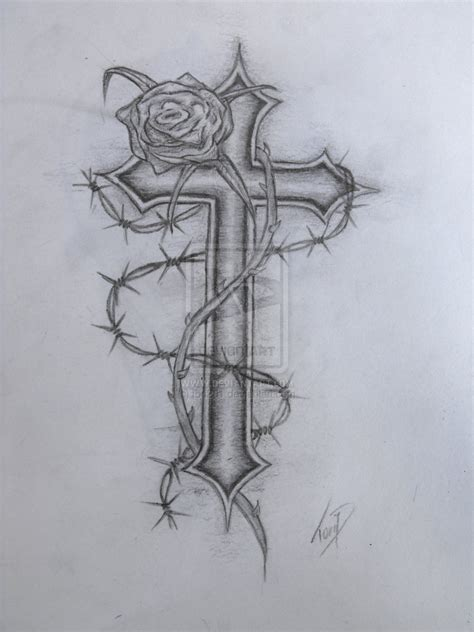 cross with rose tattoo designs images designs