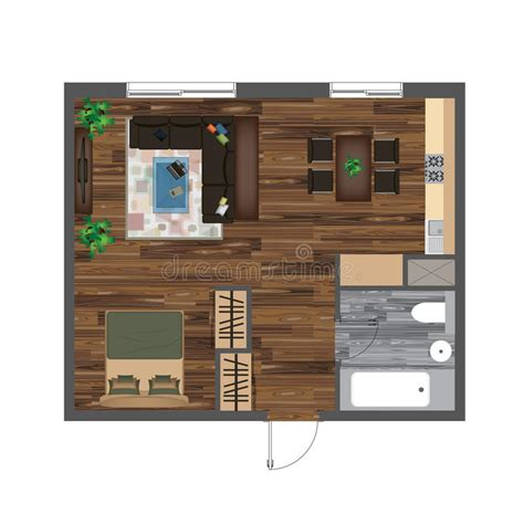architectural color floor plan furniture top stock vector architectural color floor plan studio apartment vector