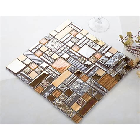 aluminum kitchen backsplash glass mosaic kitchen tile copper aluminum tiles