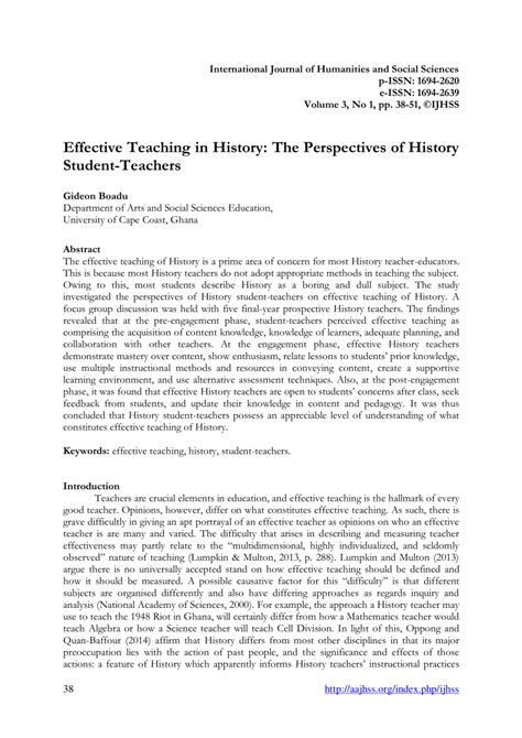 (PDF) Effective Teaching in History: The Perspectives of