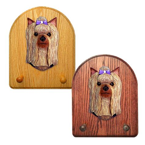 yorkie leash terrier wooden oak key leash rack hanger