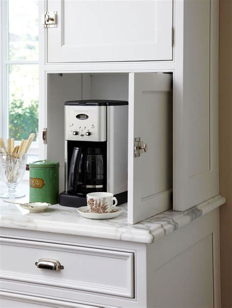 kitchen appliance storage cabinets hidden coffee station transitional kitchen bhg