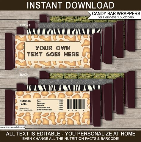 Safari Hershey Candy Bar Wrappers Zoo Party Chocolate Bar Labels Wrapper Labels Templates