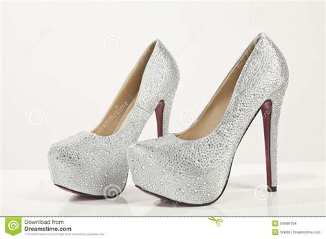 white silver high heels shoes stock photo image of high shoes pair fancy