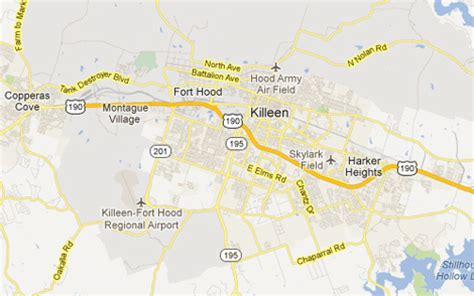 killeen texas map killeen tx the daytripper