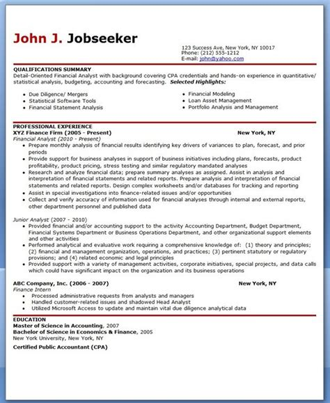 financial analyst resume template sle cover letter financial analyst resume sle