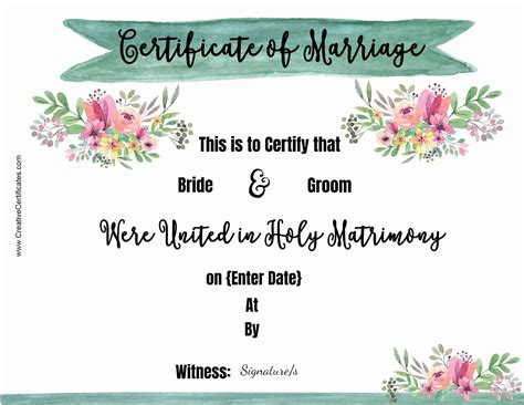 marriage certificate free marriage certificate template