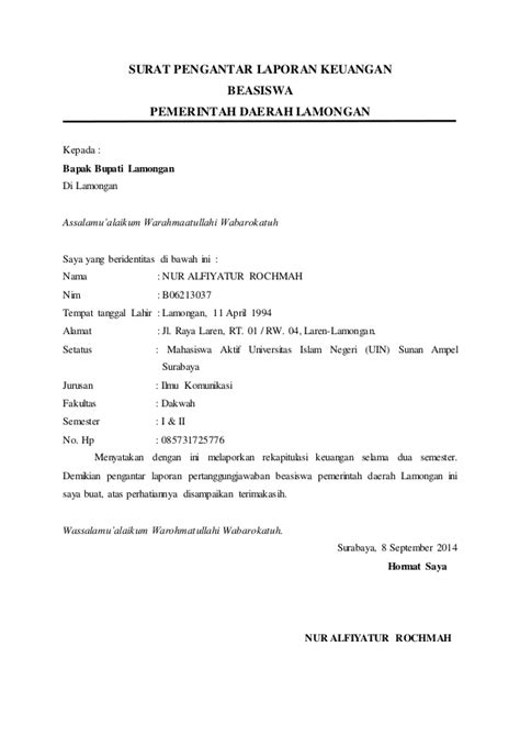 contoh surat pengantar laporan pertanggungjawaban 28 images lpj