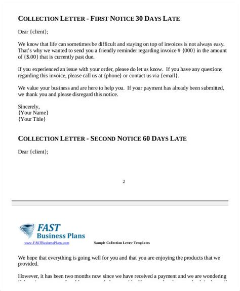collections notice template collection letter sles 7 free word pdf documents