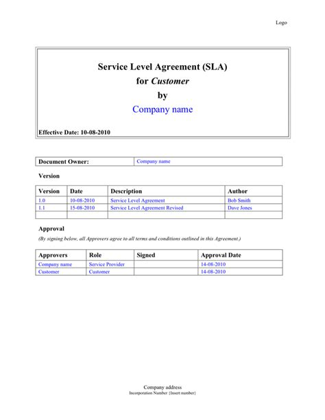 service level agreement template doc service level agreement sla template in word and pdf formats