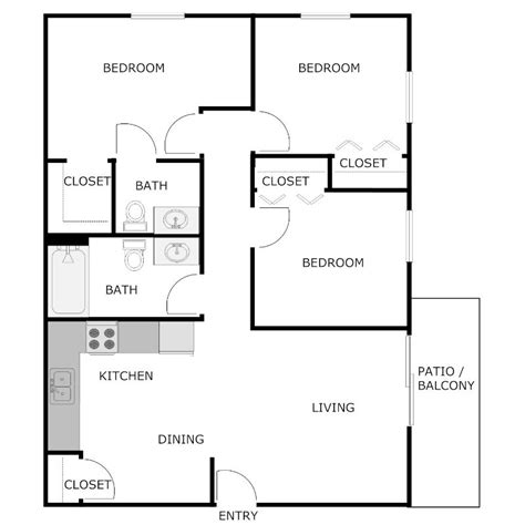 3 bed 2 bath house plans 3 bedroom 2 bath apartment floor plans