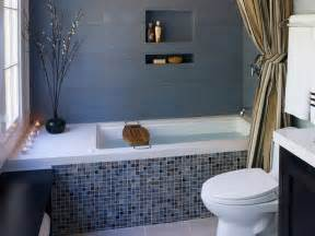 contemporary gray bathroom with mosaic tile bathtub wall
