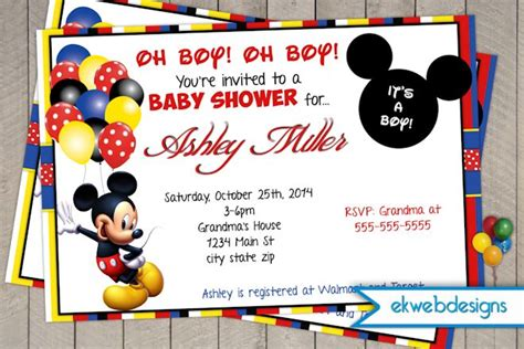 Baby Mickey Mouse Baby Shower Invitations Printable by Mickey Mouse Baby Shower Invitations Baby Shower